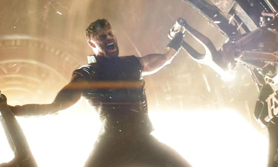 <p><span><strong>Played by:</strong> Chris Hemsworth</span><br><strong>Last appearance:</strong><i><span> Thor: Ragnarok</span></i><br><span><strong>What's he up to?</strong> After defeating Hela and witnessing the Ragnarok prophecy come true with the destruction of Asgard, Thor accepts the title of king. No longer carrying Mjolnir either, the God of Thunder decides to take the Asgardian refugees to Earth, however, their ship encounters Thanos' much larger one en route. </span> </p>