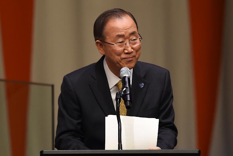 United Nations Secretary General Ban Ki-moon, seen on March 10, 2015 at the United Nations, reported to the Security Council that the mission to the DRC had found seven officers who did not measure up to UN human rights policy