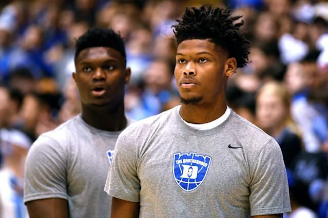 "NBA rookies believe <a class=""link rapid-noclick-resp"" href=""/nba/players/6172/"" data-ylk=""slk:Cam Reddish"">Cam Reddish</a> will emerge from <a class=""link rapid-noclick-resp"" href=""/nba/players/6163/"" data-ylk=""slk:Zion Williamson"">Zion Williamson</a>'s shadow as a pro. (Getty)"
