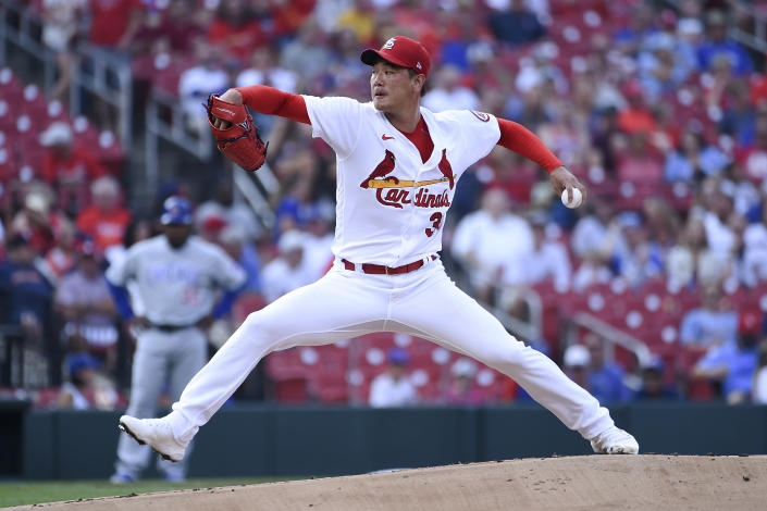 St. Louis Cardinals starting pitcher Kwang Hyun Kim throws during the first inning of the team's baseball game against the Chicago Cubs on Thursday, July 22, 2021, in St. Louis. (AP Photo/Joe Puetz)
