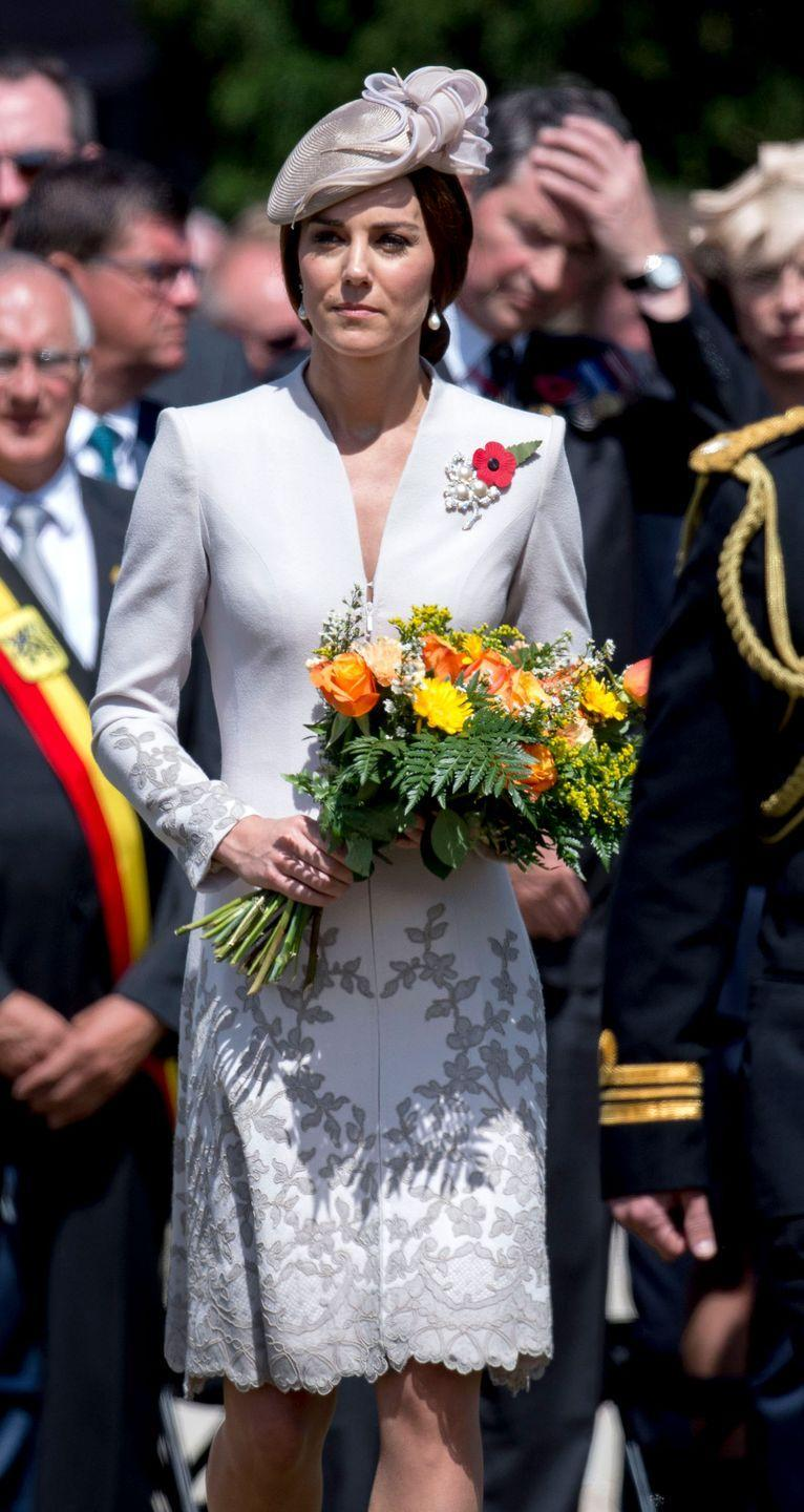 <p>In a Catherine Walker coat and holding a bouquet of flowers at the Passchendaele Commemorations in Belgium.</p>