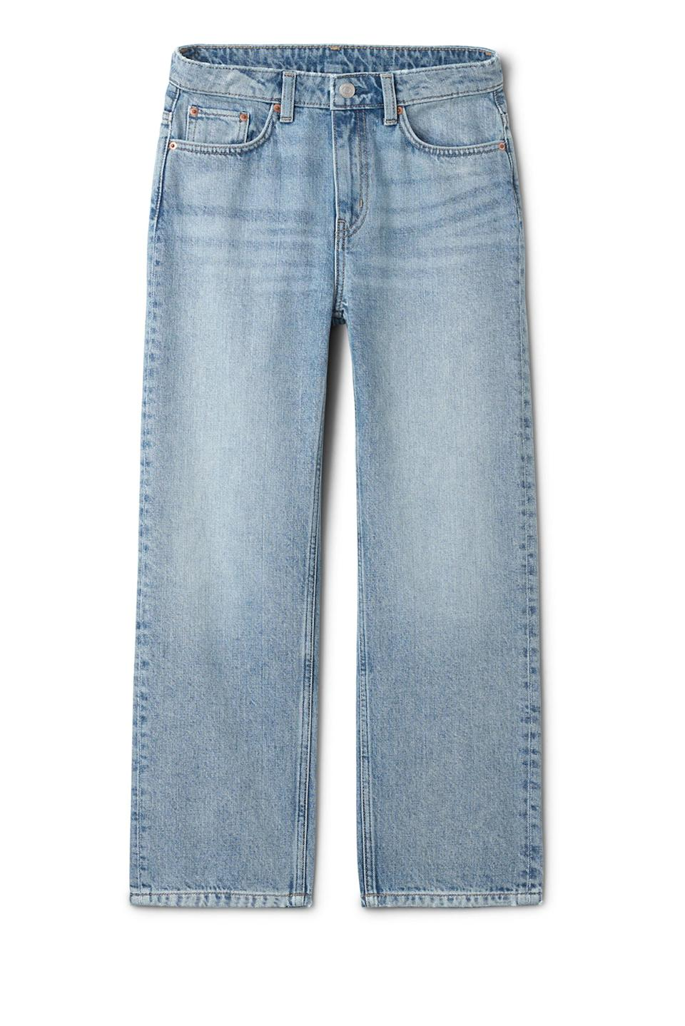 """<p>If you struggle to bag a pair of decent jeans on the high street then make sure to head over to Weekday. Trust us, the Scandi fashion house serves up great denim. <em><a href=""""https://www.weekday.com/en_gbp/sale/women/jeans/product.voyage-wow-blue-jeans-blue.0444045001.html"""" rel=""""nofollow noopener"""" target=""""_blank"""" data-ylk=""""slk:Shop now"""" class=""""link rapid-noclick-resp"""">Shop now</a>.</em> </p>"""