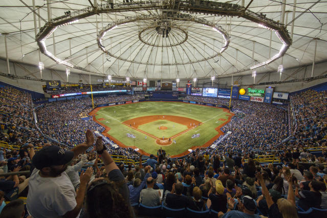 The Rays will stay at Tropicana Field full time as negotiations to split their season with Montreal have broken off. (Mike Carlson/MLB via Getty Images)