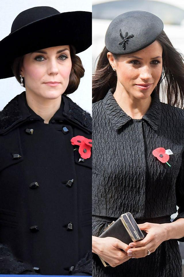 <p>In England, the poppy is a sign of remembrance, and it's used to honor military personnel who have died in war. Meghan wore the red poppy while attending an Anzac Day service, and Kate wore it to a Remembrance Sunday Service.</p>