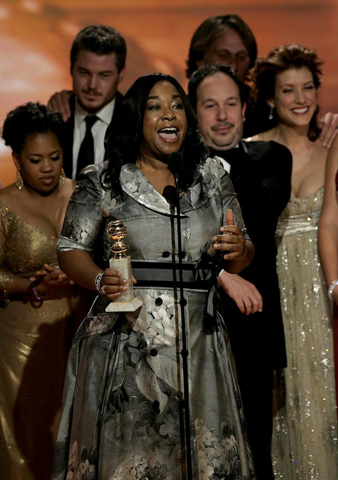 "The cast and crew of ""<a href=""/grey-39-s-anatomy/show/36657"">Grey's Anatomy</a>"" celebrate their win at <a href=""/64th-annual-golden-globe-awards/show/40075"">the 64th annual Golden Globe Awards</a>."