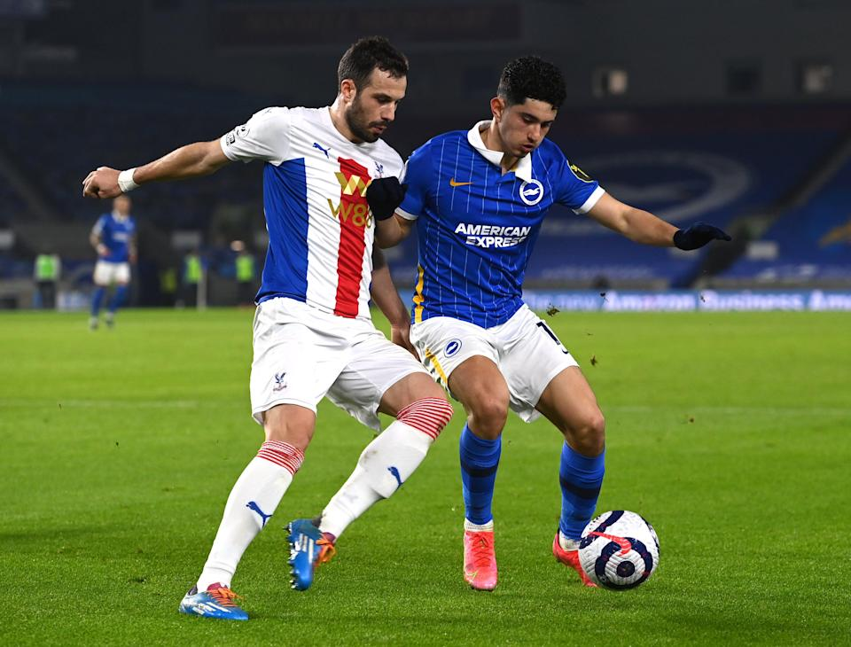 <p>Steven Alzate in action for Brighton against Crystal Palace</p> (Getty)
