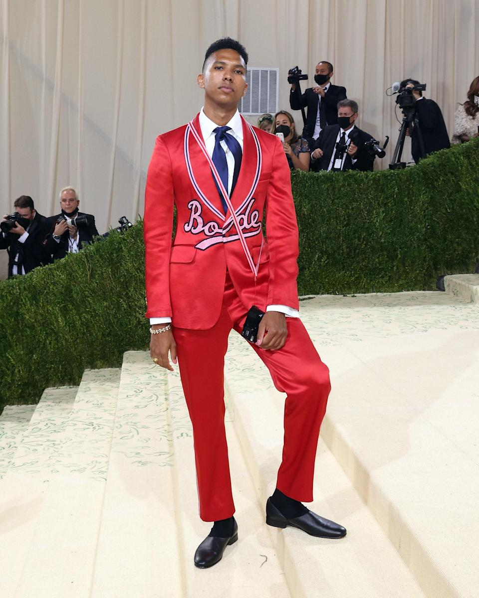 Preppy is in! Just take a look at photographer Tyler Mitchell's baseball-inspired suit by tailor-made, New York-based brand Bode.
