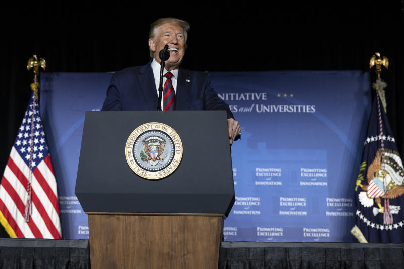 President Donald Trump speaks at the 2019 National Historically Black Colleges and Universities Week Conference in Washington, Tuesday, Sept. 10, 2019. (AP Photo/Carolyn Kaster)