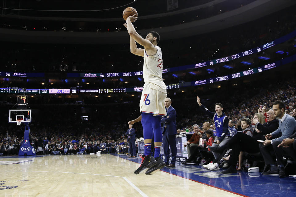 Philadelphia 76ers' Ben Simmons plays during an NBA basketball game against the Cleveland Cavaliers, Saturday, Dec. 7, 2019, in Philadelphia. (AP Photo/Matt Slocum)