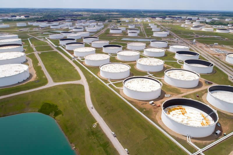 FILE PHOTO: Crude oil storage tanks are seen in an aerial photograph at the Cushing oil hub