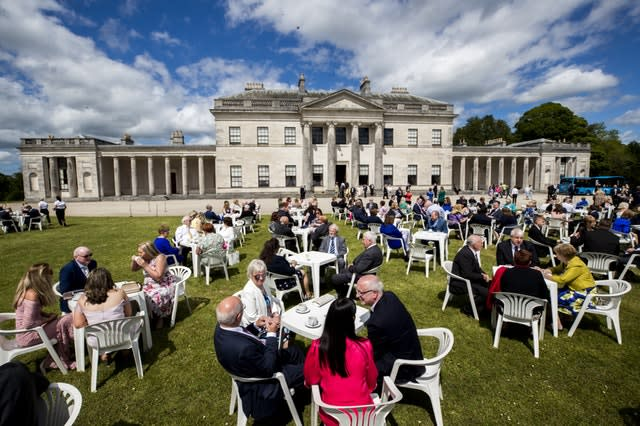 The royal couple attended a garden party at Castle Coole