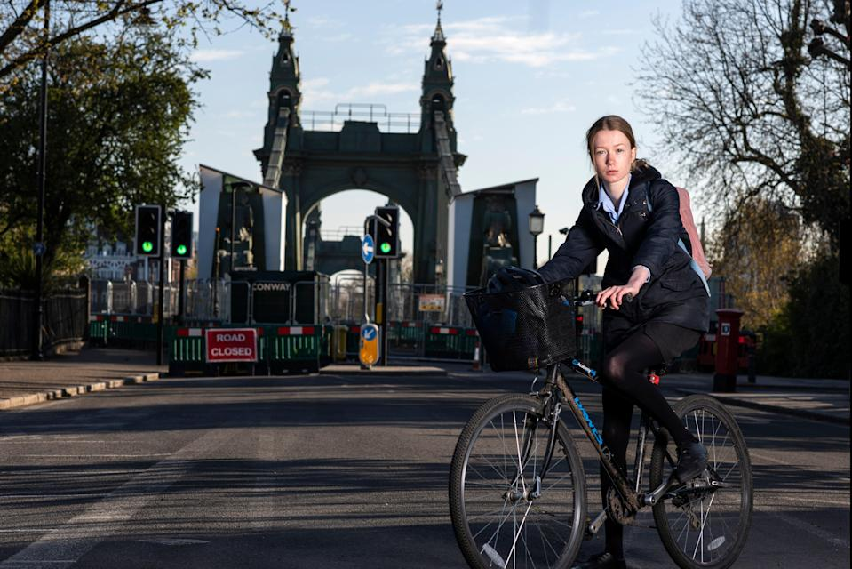 <p>Long haul: Clemmie Watkins's 10-minute journey to school now takes up to 40  </p> (Daniel Hambury/Stella Pictures Ltd)