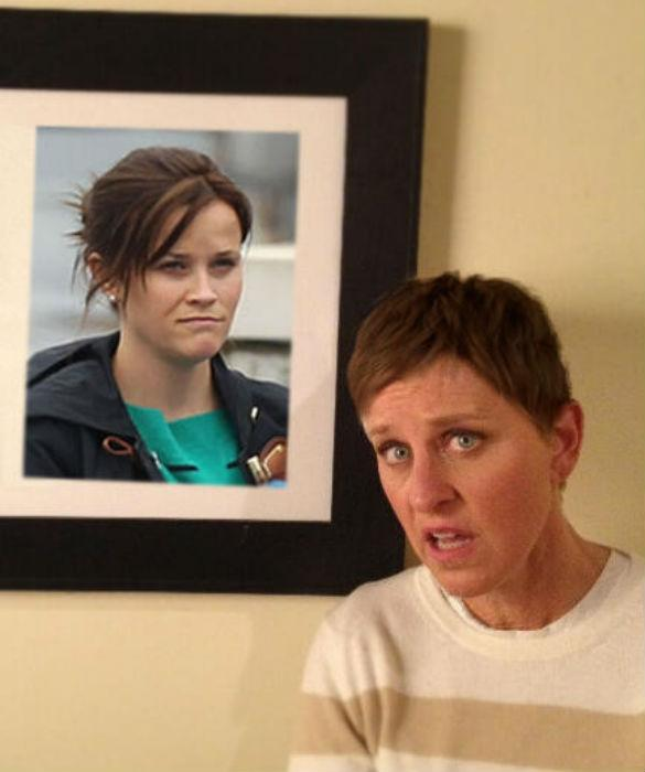 Ellen DeGeneres Steals Reese Witherspooon's Spotlight With Brunette Hairdo