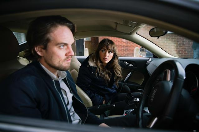 Spotting Ali Neeson [JAMES BURROWS]. sitting in his car, Maria Connor [SAMIA LONGCHAMBON] climbs into the passenger seat and quizzes him about his overdose. Maria's horrified when Ali locks her in and tells her how he suspects Gary spiked his drink. As Maria pulls fruitlessly at the door handle, Ali starts the car. (ITV Plc)