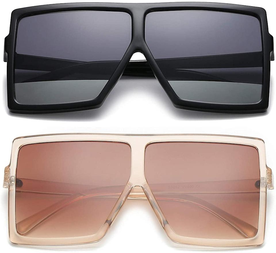 <p>If you love the oversized look, these <span>GRFISIA Flat Top Square Oversized Sunglasses</span> ($16 for 2) are so chic.</p>