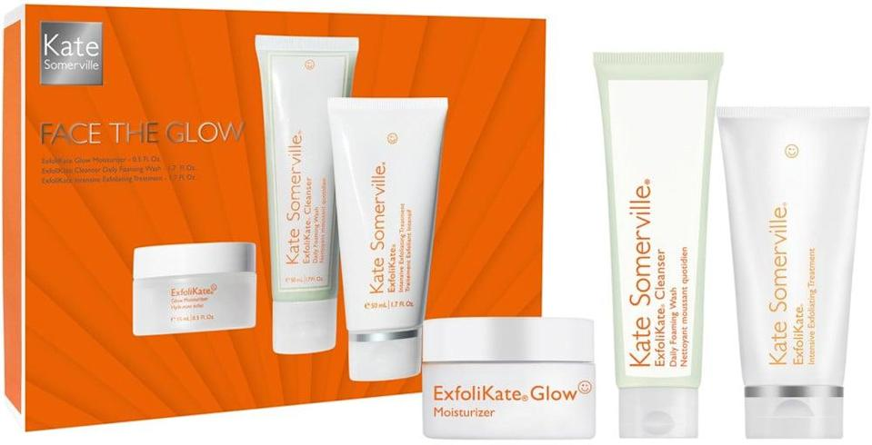<p>Get glowing skin with this <span>Kate Somerville Face The Glow Kit</span> ($65).</p>
