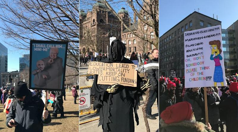 Striking Ontario teachers show off their creativity at a protest outside Queen's Park on Feb. 21, 2020. (Photo: Emma Paling/HuffPost Canada)