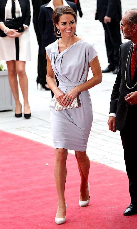 "And last but not least we have the Duchess of Cambridge (aka Kate Middleton), who opted for a sophisticated, dove-gray Roksandra Ilincic dress for a stroll down the red carpet at this year's Creative Industries Reception at London's Royal Academy of Arts. Rounding out her regal look were Kiki Mcdonough baubles, LK Bennett heels, and a clean chignon. (7/30/2012)<br><br><a target=""_blank"" href=""http://omg.yahoo.com/blogs/aline/kate-middleton-tops-vanity-fair-2012-international-best-203651808.html"">Middleton tops VF's International Best-Dressed List</a>"