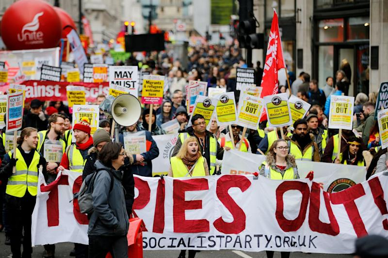 Anti austerity protesters march in London on Saturday (AFP/Getty Images)