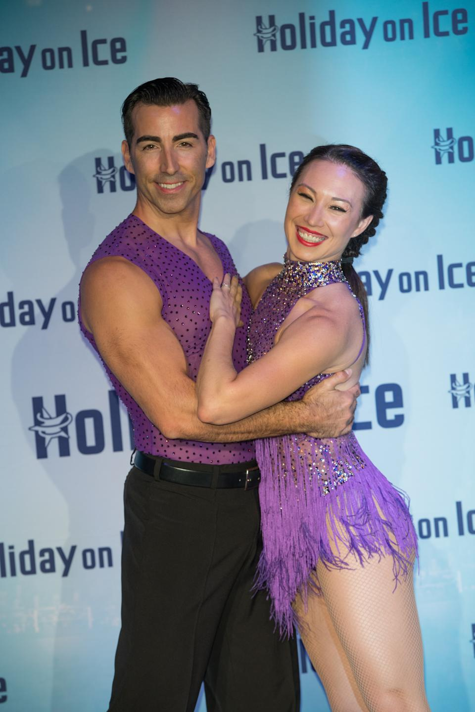 "Figure skaters Andrew Buchanan (l) and Robin Johnstone pictured at a press conference for the ""Holiday on Ice - Believe"" show in Berlin, Germany, 1 December 2016. (Photo by Jörg Carstensen/picture alliance via Getty Images)"