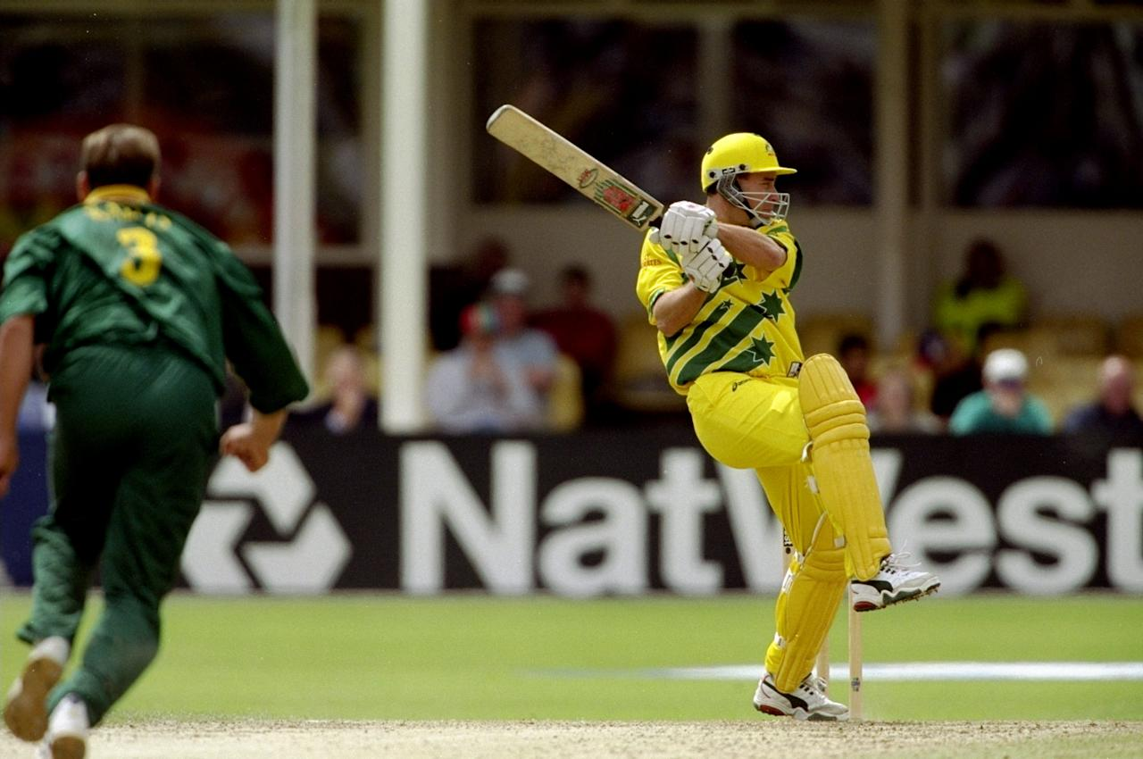 17 Jun 1999:  Michael Bevan of Australia on his way to 65 in the World Cup semi-final against South Africa at Edgbaston in Birmingham, England. The match finished a tie as Australia went through after finishing higher in the Super Six table. \ Mandatory Credit: Craig Prentis /Allsport