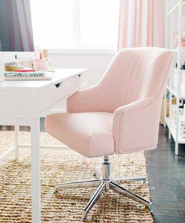 "<h2>Serta Leighton Task Chair</h2> <br><strong>Best For: Supporting Butts & Decor</strong><br>If you're looking for butt support, but still concerned with style, this blush-hued beauty has your number — its elegantly crafted frame with chrome finished accents still packs the ergonomic power of Serta's comfort memory foam in the seat and arms rests, 360-degree swivel capabilities, and adjustable height. <br><br><strong>The Hype: </strong>4.7 out of 5 stars and 1,216 reviews on <a href=""https://www.wayfair.com/furniture/pdp/serta-at-home-serta-leighton-task-chair-w001282418.html"" rel=""nofollow noopener"" target=""_blank"" data-ylk=""slk:Wayfair"" class=""link rapid-noclick-resp"">Wayfair</a><br><br><strong>Comfy Butts Say:</strong> ""I love this chair. It looks beautiful and makes my places look more cozy and elegant at the same time, the fabric is decent and soft. The cushion is comfortable. I am glad we bought it. I couldn't be happier with my chair. Again super comfortable!!!""<br><br><strong>Serta Home</strong> Leighton Task Chair, $, available at <a href=""https://go.skimresources.com/?id=30283X879131&url=https%3A%2F%2Fwww.wayfair.com%2Ffurniture%2Fpdp%2Fserta-at-home-serta-leighton-task-chair-w001282418.html"" rel=""nofollow noopener"" target=""_blank"" data-ylk=""slk:Wayfair"" class=""link rapid-noclick-resp"">Wayfair</a><br><br><br><br><br><br>"