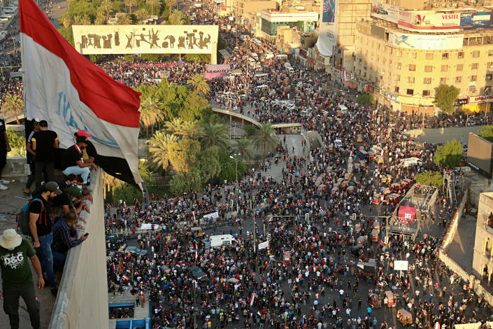 Anti-government protesters gather in Tahrir square during a demonstration in Baghdad, Iraq, Saturday, Oct. 26, 2019. (Photo: Hadi Mizban/AP)
