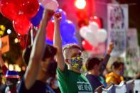 Activists raise their fists in solidarity across the street from where votes are being counted, two days after the 2020 U.S. presidential election, in Philadelphia