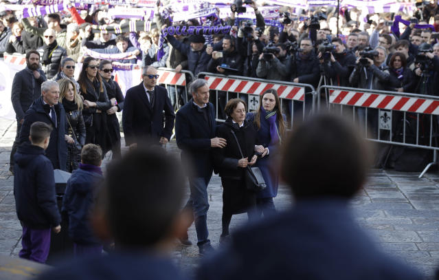 <p>Relatives arrive for the funeral ceremony of Italian player Davide Astori in Florence, Italy, Thursday, March 8, 2018. The 31-year-old Astori was found dead in his hotel room on Sunday after a suspected cardiac arrest before his team was set to play an Italian league match at Udinese. (AP Photo/Alessandra Tarantino) </p>