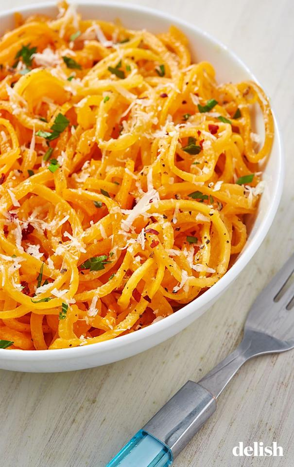 "<p>All ya need is a little parmesan and olive oil on top. </p><p>Get the recipe from <a href=""https://www.delish.com/cooking/recipe-ideas/a28497932/butternut-squash-noodles-recipe/"" target=""_blank"">Delish</a>.</p>"