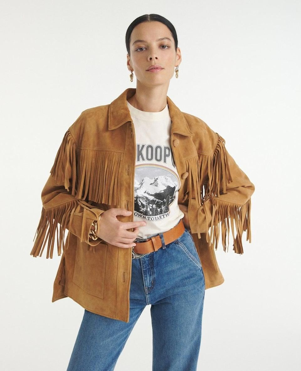 <p>Feel like a cowboy in this cool <span>The Kooples Camel Suede Jacket With Fringing</span> ($970). It's a little bit Western, and a little bit edgy, which makes it a fun outfit topper.</p>