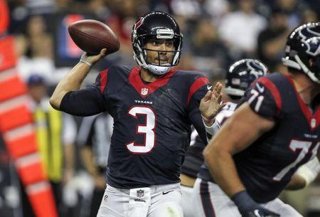 Aug 28, 2014; Houston, TX, USA; Houston Texans quarterback Tom Savage (3) attempts a pass during the fourth quarter against the San Francisco 49ers at NRG Stadium. The 49ers defeated the Texans 40-13. Mandatory Credit: Troy Taormina-USA TODAY Sports