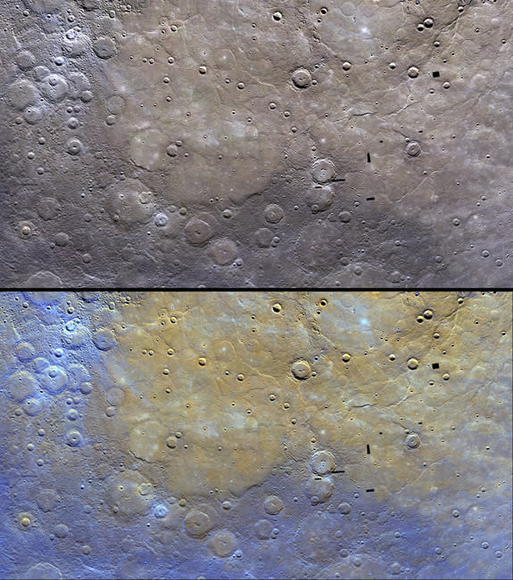 These image of Mercury by NASA's Messenger probe show the distinctive color of the planet's northern plains and their surrounding terrain. The top image is as Messenger saw the scene, with the bottom image enhanced to bring out features. Image