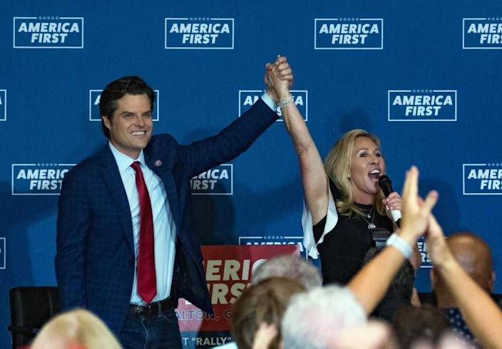 DALTON, GA - MAY 27: U.S. Reps. Marjorie Taylor Greene (R-GA) and Matt Gaetz (R-FL) speak at an America First Rally on May 27, 2021 in Dalton, Georgia. The two Republicans, among the most outspoken supporters of former President Donald Trump, are co-hosting a cross-country series of rallies. (Photo by Megan Varner/Getty Images)