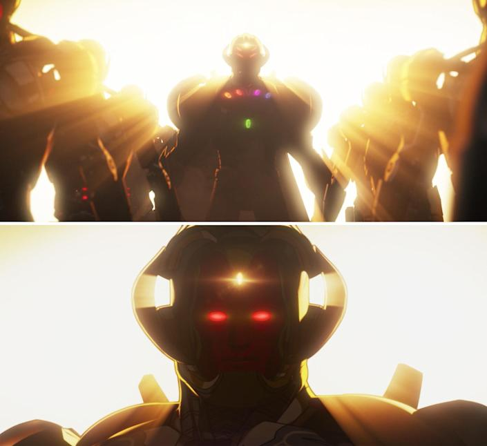 Ultron opening his mask and revealing Vision's face