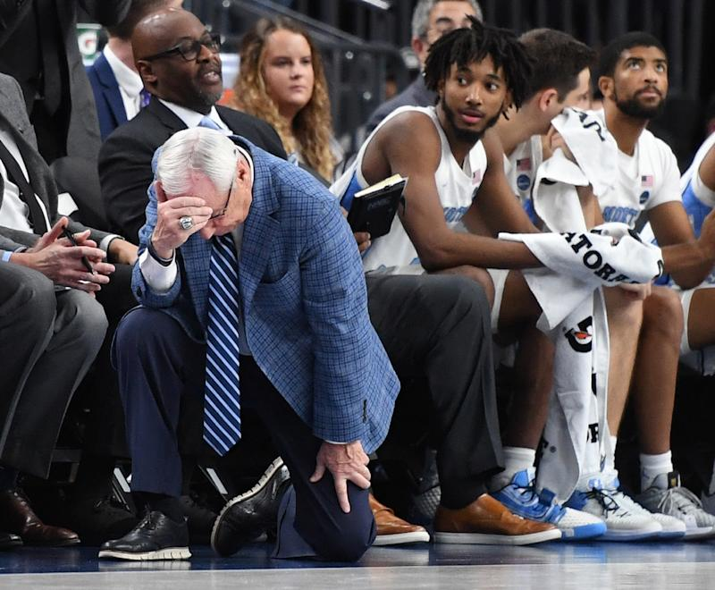 North Carolina's Roy Williams reacts after his players turned the ball over against UCLA at the CBS Sports Classic on Saturday. (Ethan Miller/Getty Images)
