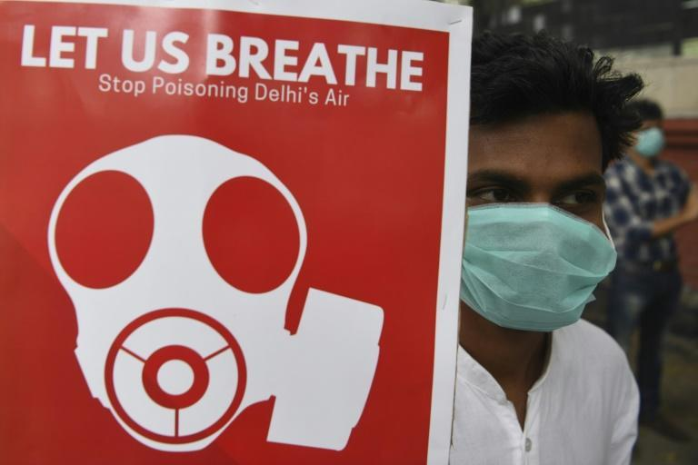 Participants wore face masks at a rally against air pollution in New Delhi (AFP Photo/Sajjad HUSSAIN)