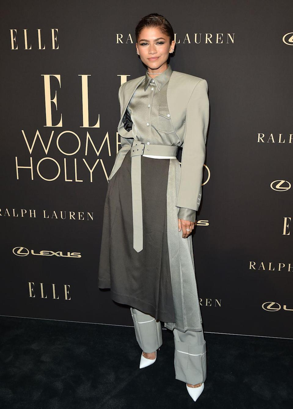 <p>Zendaya wore a Peter Do Pantsuit for the 2019 ELLE Women In Hollywood event. </p>