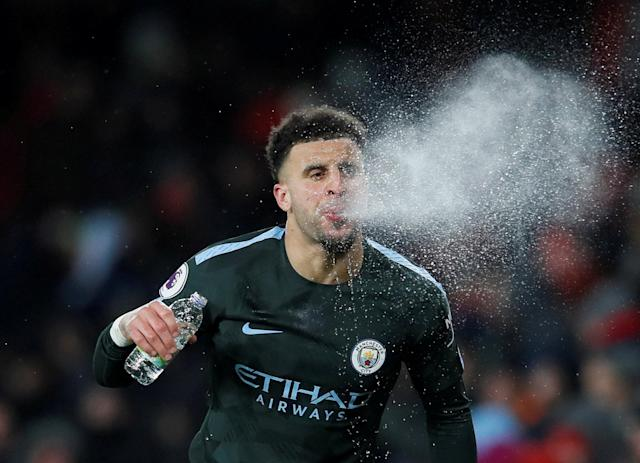 """Soccer Football - Premier League - Arsenal vs Manchester City - Emirates Stadium, London, Britain - March 1, 2018 Manchester City's Kyle Walker spits water REUTERS/David Klein EDITORIAL USE ONLY. No use with unauthorized audio, video, data, fixture lists, club/league logos or """"live"""" services. Online in-match use limited to 75 images, no video emulation. No use in betting, games or single club/league/player publications. Please contact your account representative for further details. TPX IMAGES OF THE DAY"""