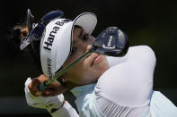 Patty Tavatanakit of Thailand tees off on the ninth hole, during the final round of play in the KPMG Women's PGA Championship golf tournament Sunday, June 27, 2021, in Johns Creek, Ga. (AP Photo/John Bazemore)