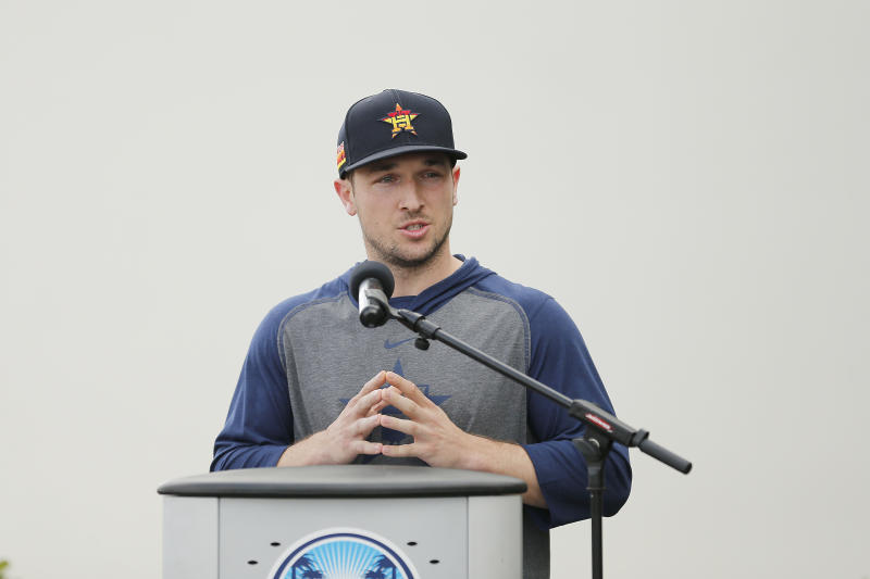 WEST PALM BEACH, FLORIDA - FEBRUARY 13: Alex Bregman #2 of the Houston Astros speaks during a press conference at FITTEAM Ballpark of The Palm Beaches on February 13, 2020 in West Palm Beach, Florida. (Photo by Michael Reaves/Getty Images)