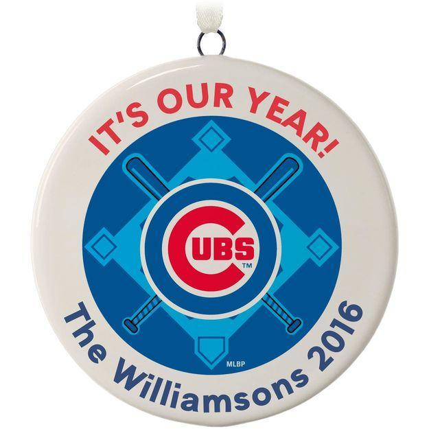 You can also purchase personalized Cubs ornaments. (Hallmark)