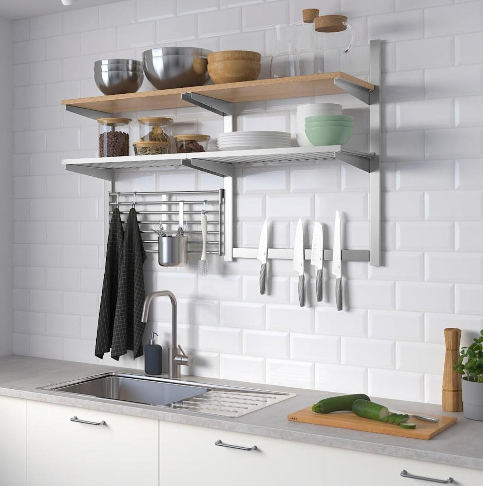 "<p>If you have unused wall space, but little storage, the <a href=""https://www.popsugar.com/buy/Kungsfors%20Wall%20Storage%20With%20Grid%20and%20Knife%20Rack-446987?p_name=Kungsfors%20Wall%20Storage%20With%20Grid%20and%20Knife%20Rack&retailer=ikea.com&price=148&evar1=casa%3Aus&evar9=46151613&evar98=https%3A%2F%2Fwww.popsugar.com%2Fhome%2Fphoto-gallery%2F46151613%2Fimage%2F46152176%2FKungsfors-Wall-Storage-Grid-Knife-Rack&list1=shopping%2Cikea%2Corganization%2Ckitchens%2Chome%20shopping&prop13=api&pdata=1"" rel=""nofollow noopener"" target=""_blank"" data-ylk=""slk:Kungsfors Wall Storage With Grid and Knife Rack"" class=""link rapid-noclick-resp"">Kungsfors Wall Storage With Grid and Knife Rack</a> ($148) is everything your kitchen could ever need. Use the thick shelves to store big bowls and plates, and the magnetic rod to hold knives and hooks.</p>"
