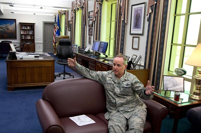 "Air Force Chief of Staff Gen. Mark Welsh talks to a reporter in his office at the Pentagon, Wednesday, Nov. 20, 2013. Trouble inside the Air Force's nuclear missile force runs deeper and wider than officials have let on. An unpublished study for the Air Force obtained by The Associated Press cites ""burnout"" among launch officers with their finger on the trigger of 450 weapons of mass destruction. And this: evidence of broader behavioral issues across the intercontinental ballistic missile force, including sexual assault and domestic violence. (AP Photo/Carolyn Kaster)"