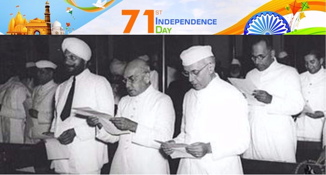 <p>1947 – Constitution Assembly assumes power as India gains independence. Jawaharlal Nehru and other members taking pledge during the midnight session of the Constituent Assembly of India held on 14 and 15 August 1947. Source: Wikipedia </p>