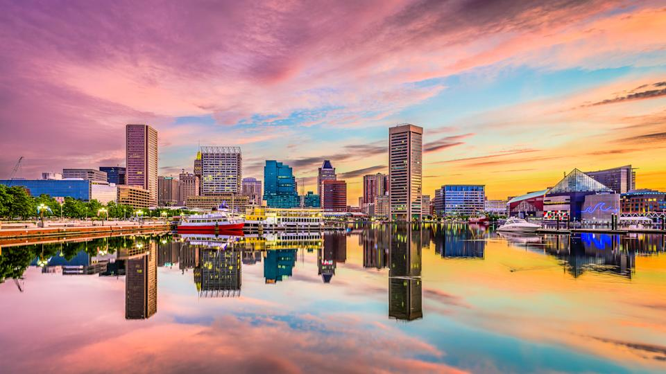 Baltimore, Maryland, USA skyline on the Inner Harbor.