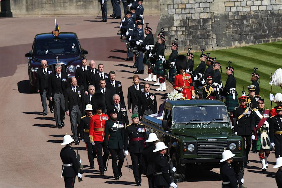 WINDSOR, ENGLAND - APRIL 17: Princess Anne, Princess Royal, Prince Charles, Prince of Wales, Prince Andrew, Duke of York, Prince Edward, Earl of Wessex, Prince William, Duke of Cambridge, Peter Phillips, Prince Harry, Duke of Sussex, Earl of Snowdon David Armstrong-Jones and Vice-Admiral Sir Timothy Laurence follow Prince Philip, Duke of Edinburgh's coffin during the Ceremonial Procession during the funeral of Britain's Prince Philip, Duke of Edinburgh in Windsor Castle on April 17, 2021 in Windsor, United Kingdom. Prince Philip of Greece and Denmark was born 10 June 1921, in Greece. He served in the British Royal Navy and fought in WWII. He married the then Princess Elizabeth on 20 November 1947 and was created Duke of Edinburgh, Earl of Merioneth, and Baron Greenwich by King VI. He served as Prince Consort to Queen Elizabeth II until his death on April 9 2021, months short of his 100th birthday. His funeral takes place today at Windsor Castle with only 30 guests invited due to Coronavirus pandemic restrictions. (Photo by Jeremy Selwyn-WPA Pool/Getty Images)