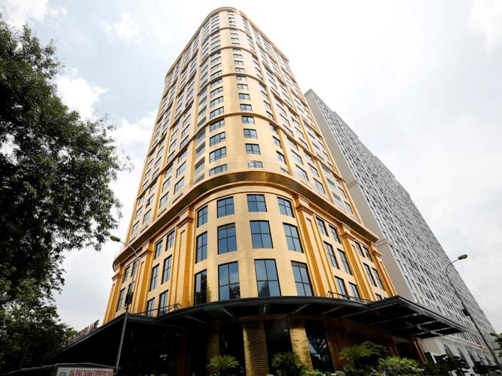 A front view of the Dolce Hanoi Golden Lake luxury hotel in Hanoi, Vietnam, on July 2, 2020.