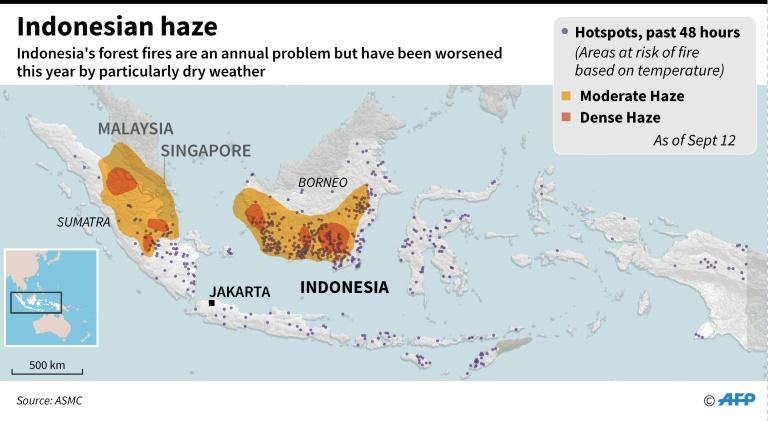 Map of Indonesia showing areas of haze and wildfire hotspots as of September 12