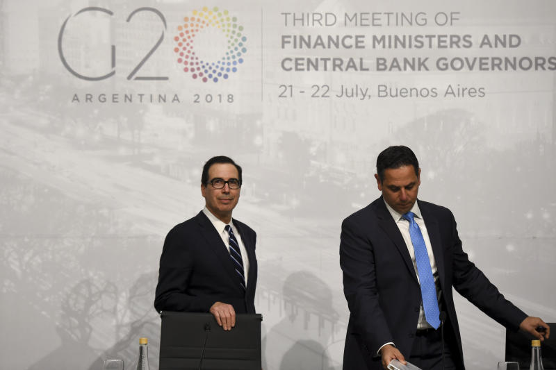 Steven Mnuchin, left, and Tony Sayegh